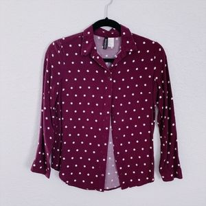 ❗3/$20 H&M Burgundy Polka Dots Button Down Shirt
